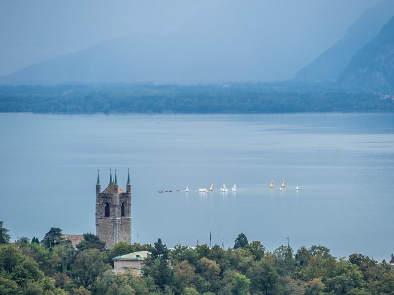 Tower and Sailboats, Vevey, Switzerland