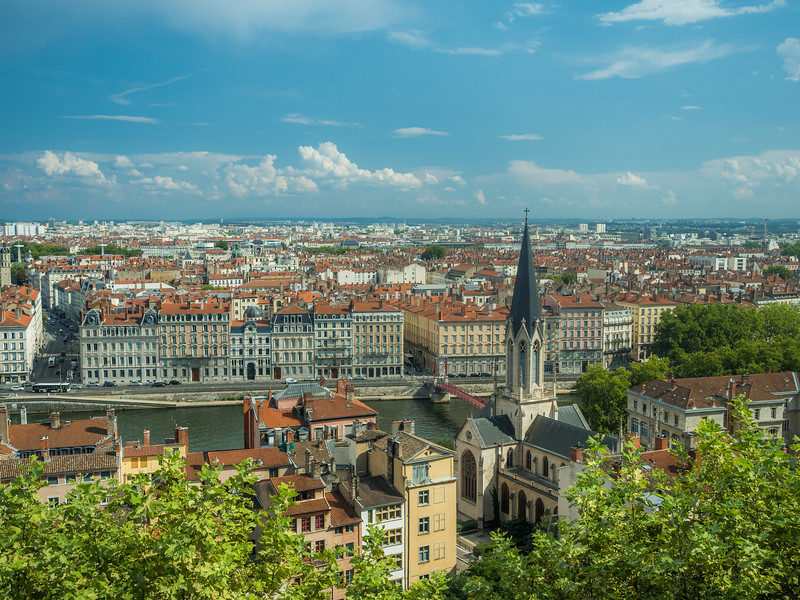 Beautiful Day over Lyon, France