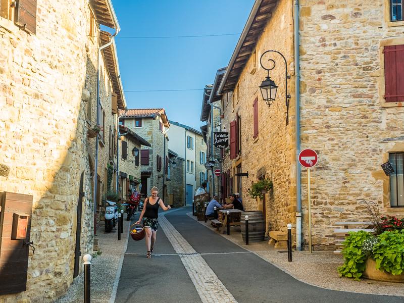 Afternoon Street Scene in Oingt, France