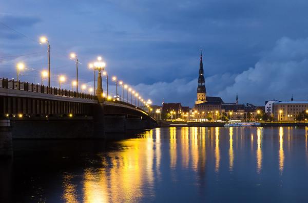 St. Peters Reflected in the Daugava, Riga