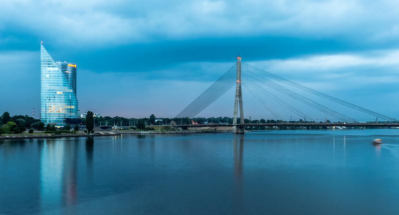 Swedbank and Vanšu Bridge, Riga