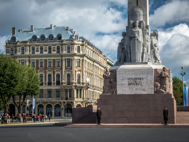 At the Freedom Monument, Riga
