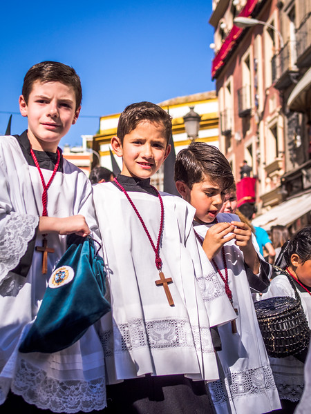 Three Boys in the Procession, Seville