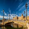 Bridge and Lamps at the Plaza de España, Seville, Spain