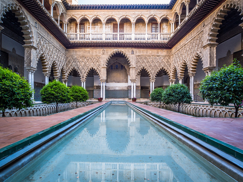 Pool and Patio of the Alcazar, Seville, Spain