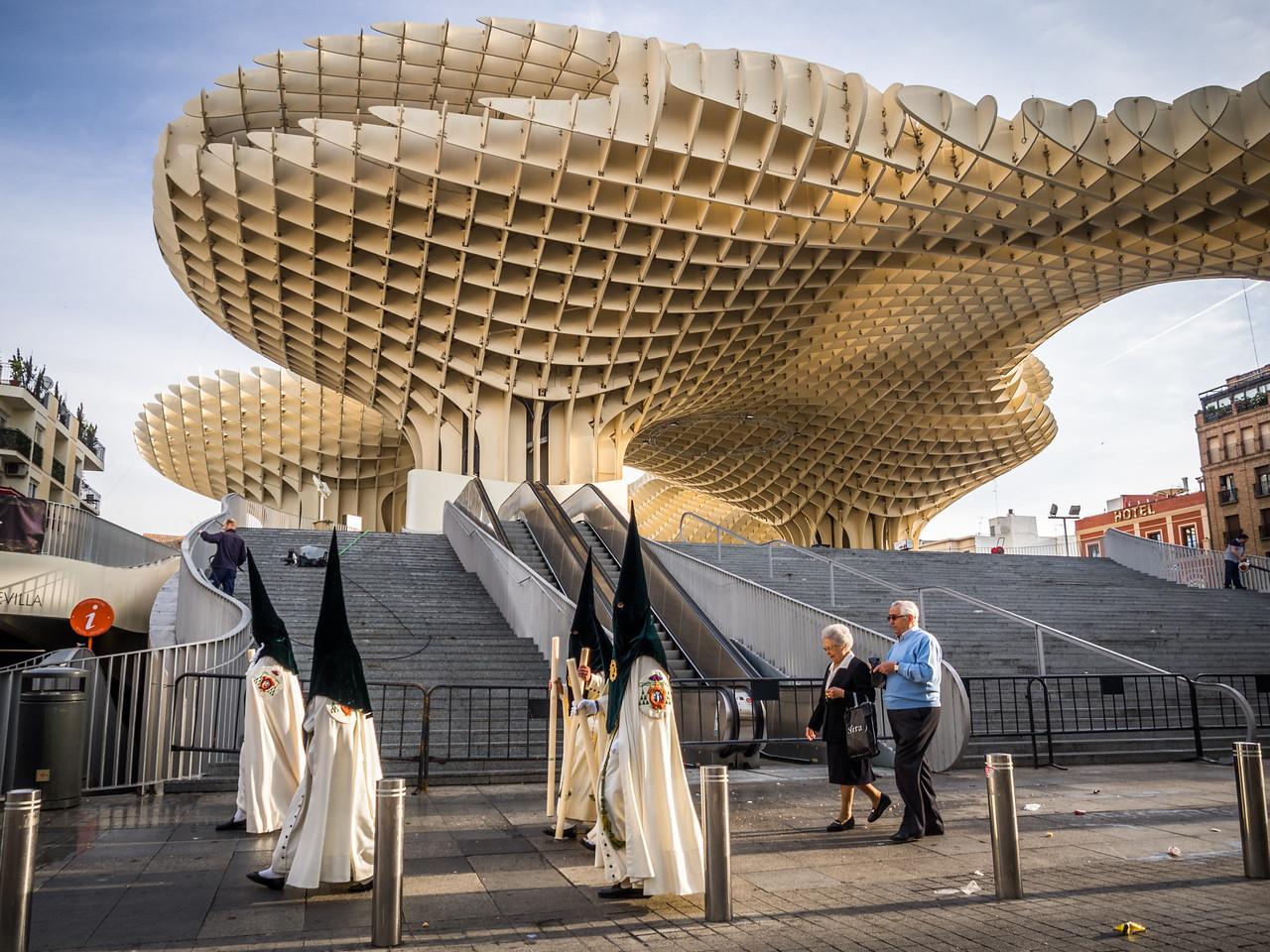 Nazarenos at the Metropol Parasol, Seville, Spain