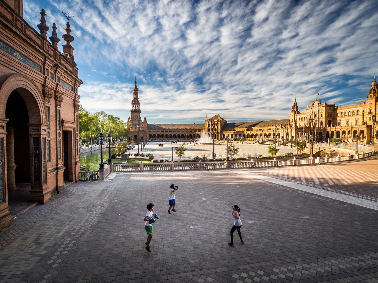 Kickboxing on the Plaza de España, Seville, Spain