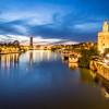 Torre del Oro and Guadalquivir at Night, Seville, Spain