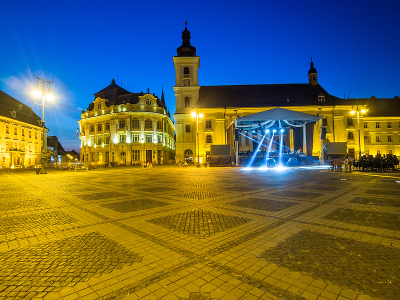 Night on Piața Mare, Sibiu