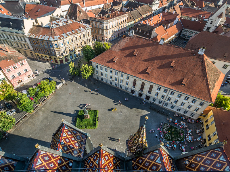 Looking down on Piața Albert Huet, Sibiu