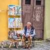Painter outside Dracula's House, Sighișoara