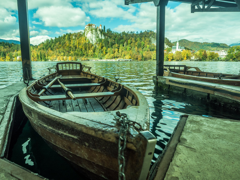 Rowboats on Lake Bled, Slovenia