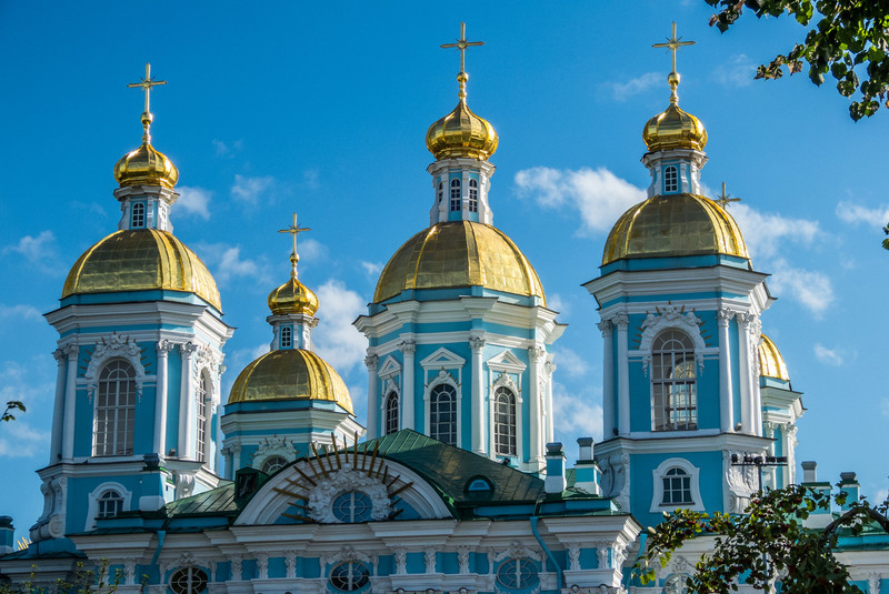 Spires of St. Nicholas Cathedral, St. Petersburg, Russia