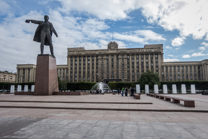 Lenin Statue and Old Soviet Building, St. Petersburg