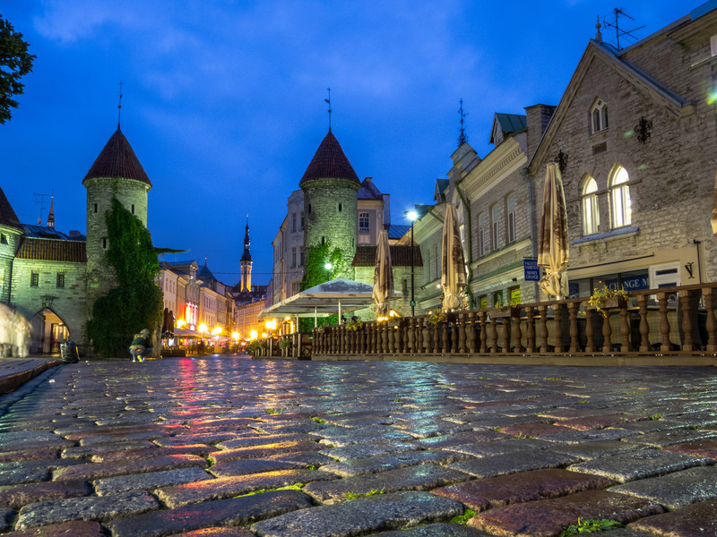 Tallinn City Gates at Night