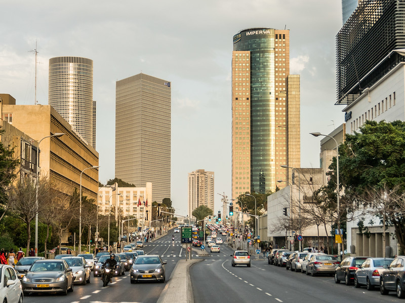 Business District Street Scene, Tel Aviv, Israel