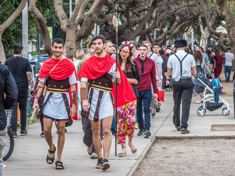 Roman Guards at Purim, Tel Aviv, Israel
