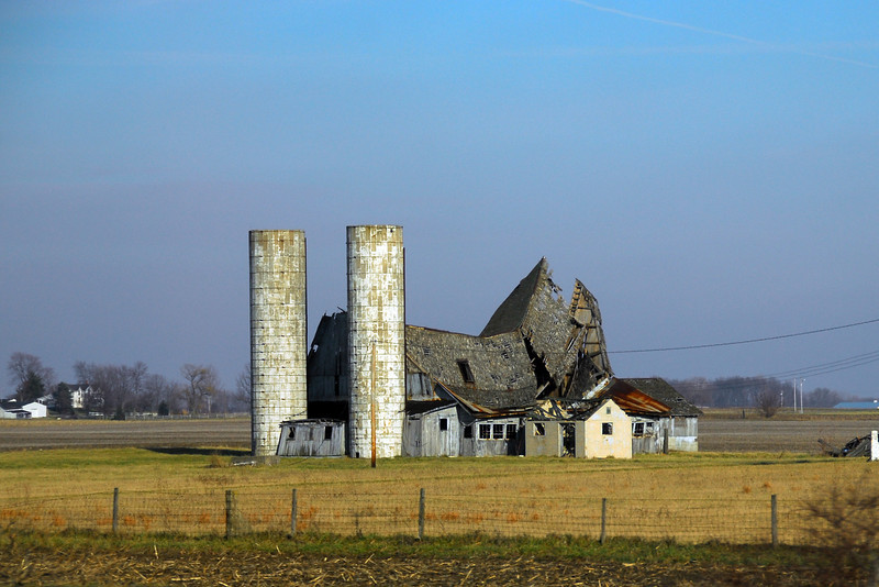 """Most likely this is the last photograph taken of this barn and the surrounding buildings. Three days later all were destroyed in a """"controlled burn"""" to remove the dangerous structures."""