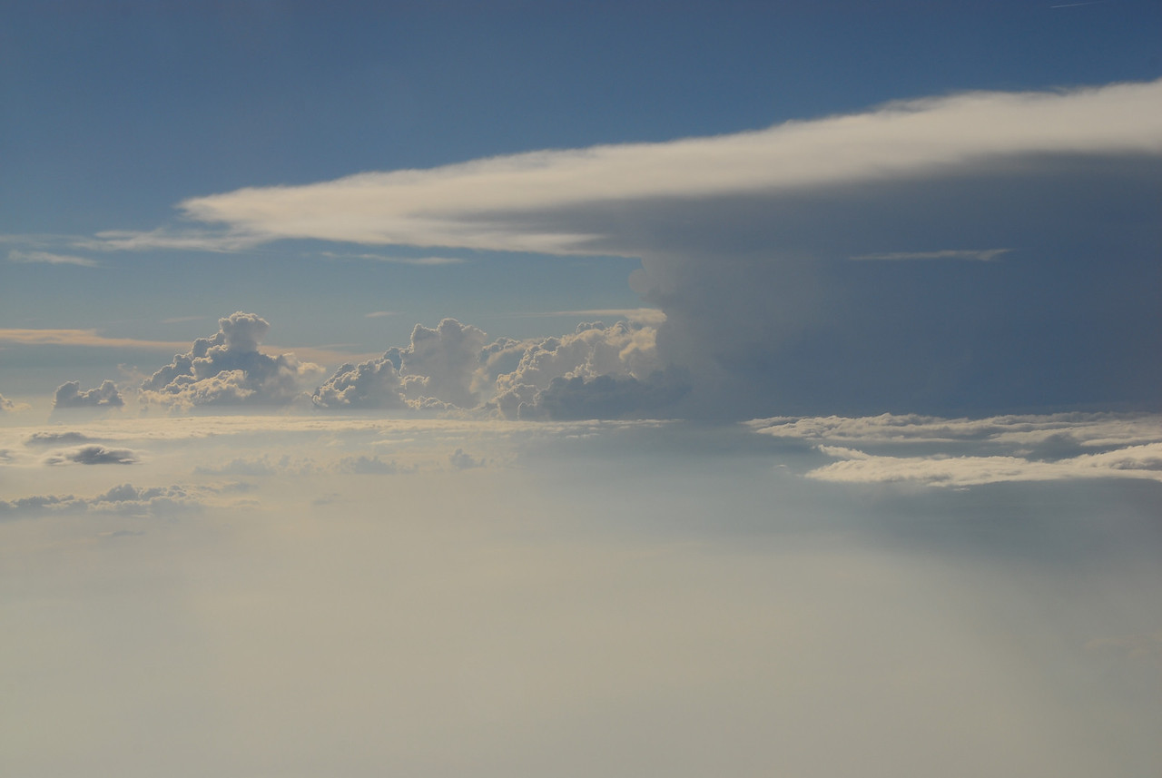 From an airplane window at about 20,000 the detail of an advancing cold front is quite visable.