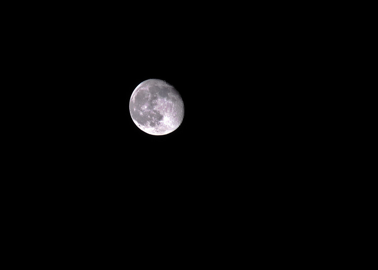 It was a spectacular clear evening to photograph the moon. The moon was so bright it caused moon shadows on the ground.