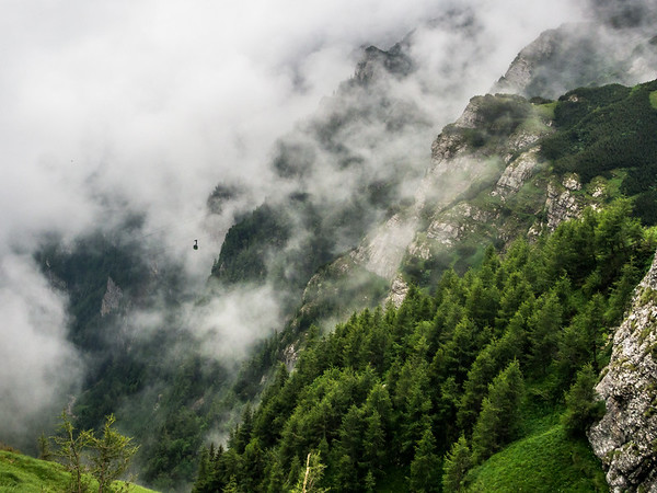 Distant Cable Car in the Clouds, Bucegi, Romania