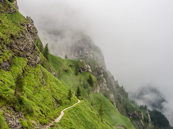 Steep Mountainside and the Mist, Bucegi, Romania
