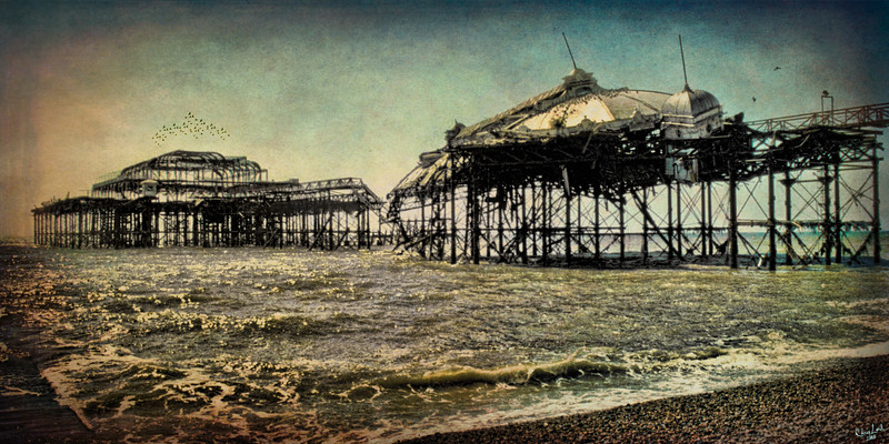 """After the Fire, The Old West Pier in Brighton An """"oldie but goodie"""" from my 35 mm slide collection."""
