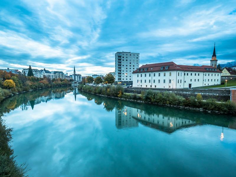 Riverside Dusk in Villach, Austria
