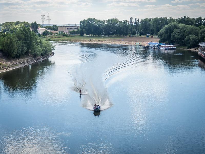 Waterskiing on the Dniester River, Tiraspol, Transnistria