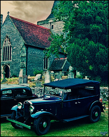 Old Cars In Front of A Church