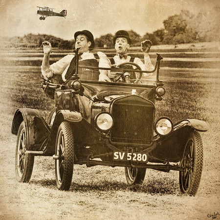 Two Actors play Laurel & Hardy at an Airshow In England