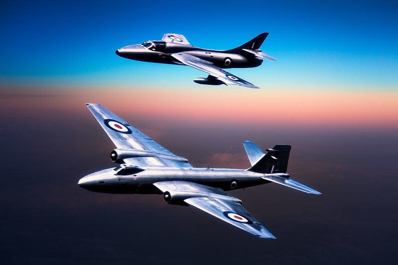 Canberra Bomber and Hawker Hunter Fighter