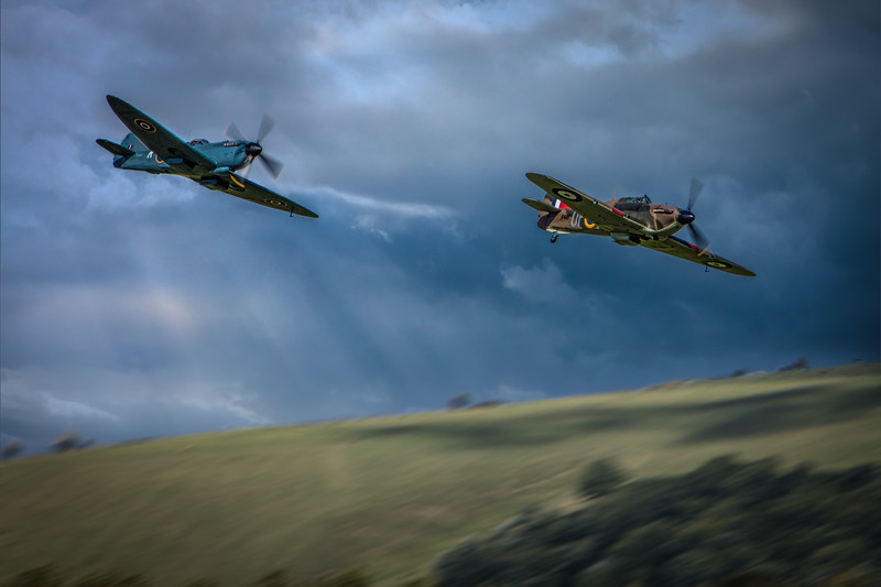 Hurricane and Spitfire in Formation