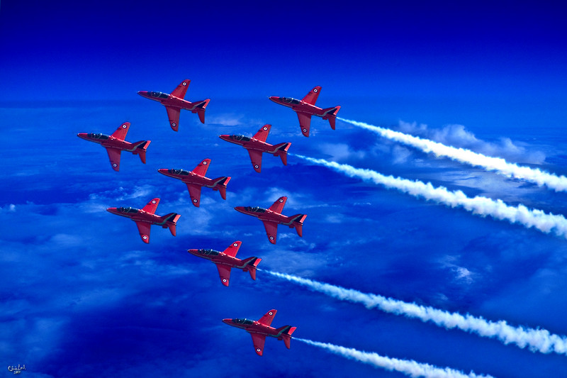 England's Red Arrows Flying In Formation