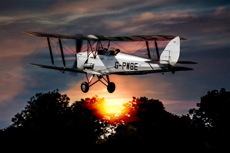 Tiger Moth Sunset Takeoff