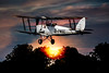 Tiger Moth Sunset Takeoff