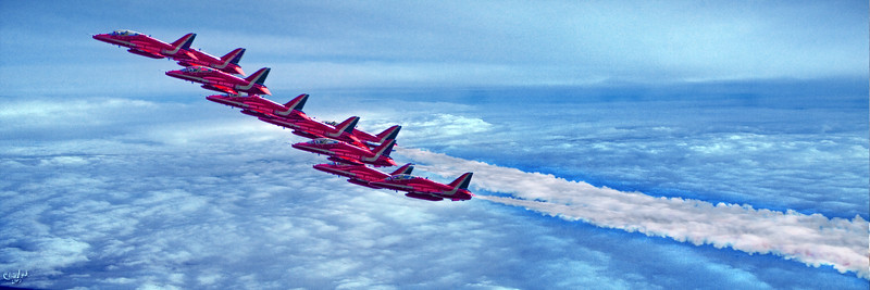Britain's Red Arrows Above The Clouds
