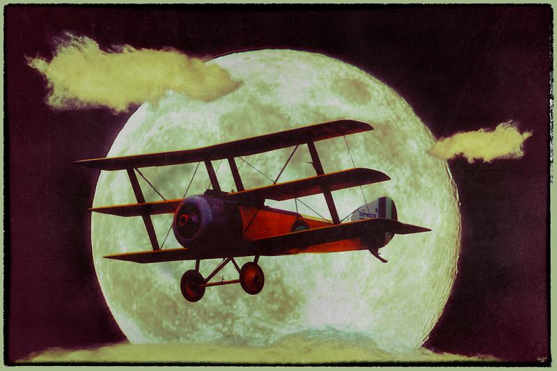 Sopwith Triplane Passes the Moon
