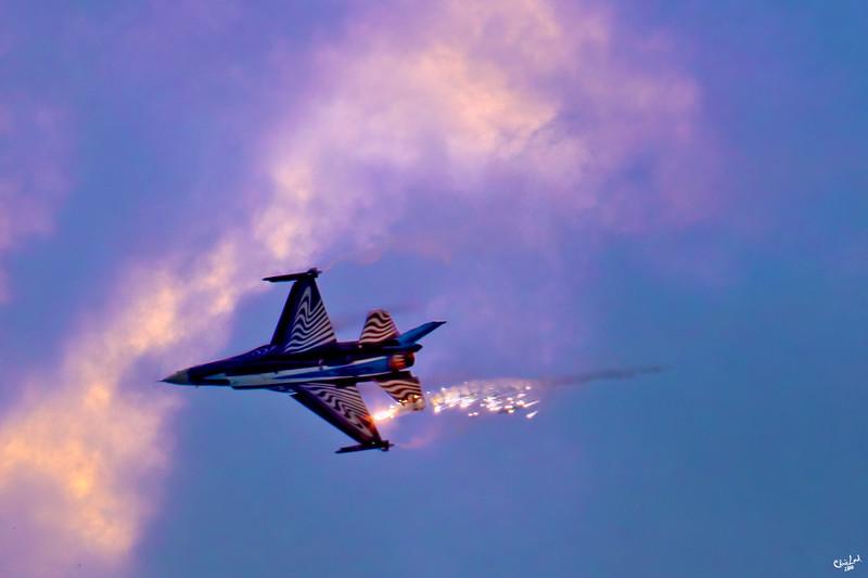 An F16 drops a Flare