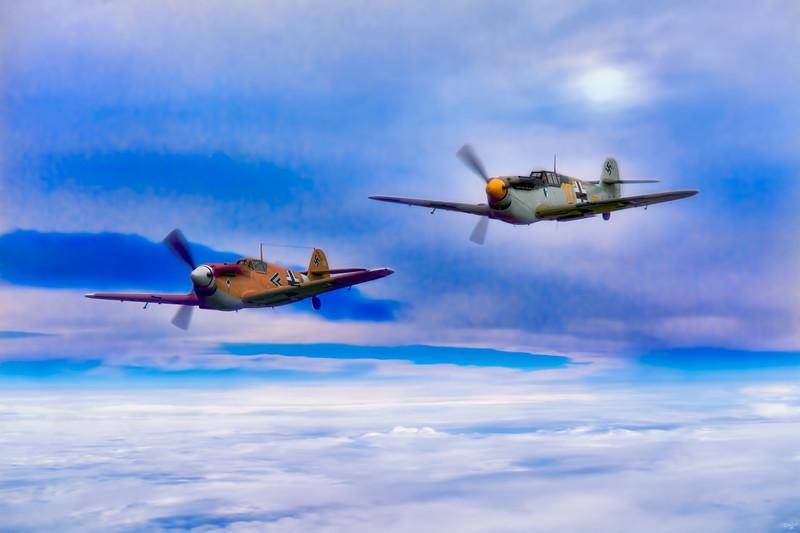 Messerschmitt BF 109s Prowl The Cloud Layers