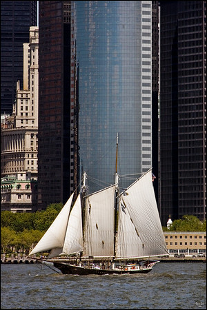 A Sailing Ship Passes Downtown Manhattan