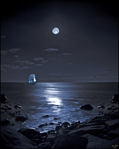 Rhode Island Bay with Ship In The Moonlight