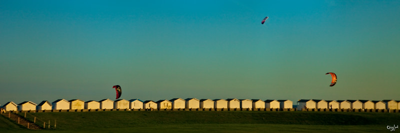 Kites At Sunset, Seafront At Lancing in Sussex