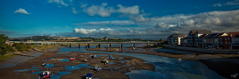 Adur River At Low Tide, Shoreham-by-Sea, UK. Lancing College Is In The Distance