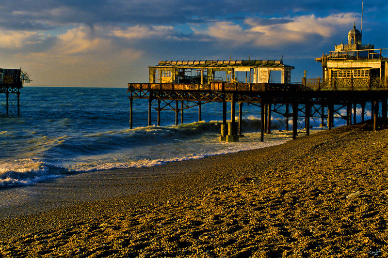 """The Old Decaying West Pier at Sunrise<br /> An """"oldie but goodie"""" from my 35 mm slide collection."""
