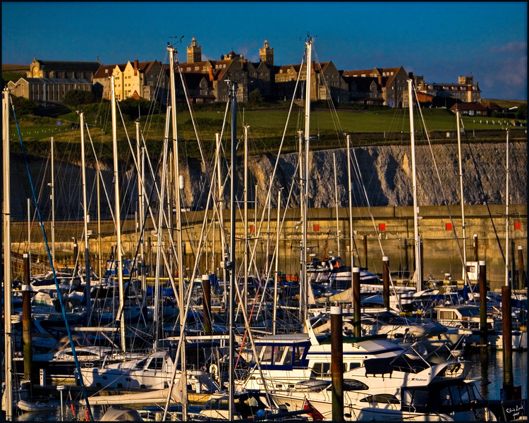 Brighton Marina with Roedean School on the Clifftop in the Background at Sunset