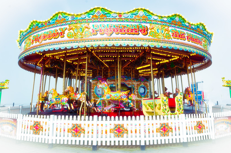 The Palace Pier Carousel In Mist