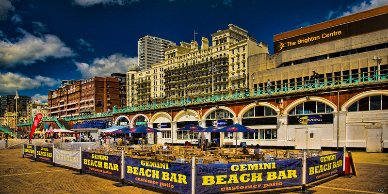Beach Bar with the Metropole (Hilton) and Grand Hotels in the Background