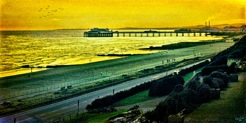 """An Evening Promenade in Brighton with the Palace & West Piers In the Background, Circa - Sometime in the 70s.  An """"oldie but goodie"""" from my 35 mm slide collection."""