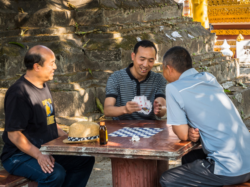 Card Game at Wat Si Saket, Vientiane